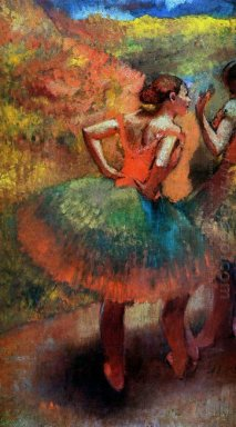 two dancers in green skirts landscape scener
