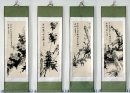 Flowers, Set of 4 - Mounted - Chinese Painting