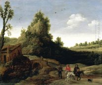 A landscape with travellers crossing a bridge before a small dwe