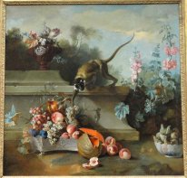 Still Life with Monkey, Fruits, and Flowers