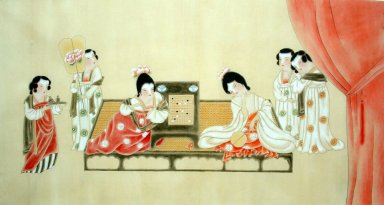 Beautiful lady, Playing chess - Chinese Painting
