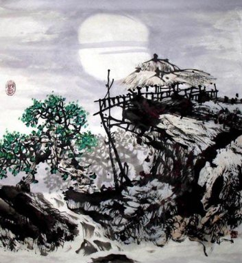 Tree and House - Fangzi - Chinese Painting