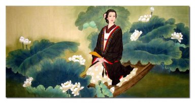Lotus,girl - Chinese Painting