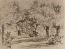 A Lane In The Public Garden With Benches 1888