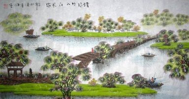 River, Bridge, Boats - Chinese Painting