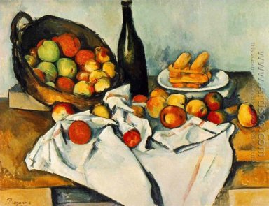 Still life with bottle and apple basket