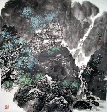 Trees and Building - Chinese Painting