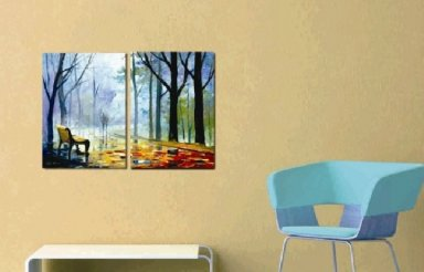 Hand-painted Abstract Oil Painting with Stretched Frame-Set of 2
