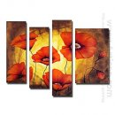 Hand-painted Floral Oil Painting - Set of 4