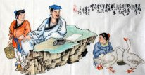 The old man talk with children - Chinese Painting