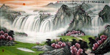 Huangguoshu Waterfall in the spring - Chinese Painting