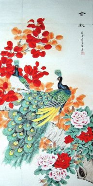 Peacock&Red Leaves&Peony - Chinese Painting