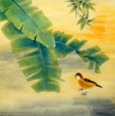 Banana leaf-Bird - Chinese Painting