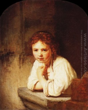 A Young Girl Leaning on a Window-Sill