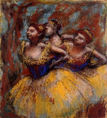 three dancers yellow skirts blue blouses