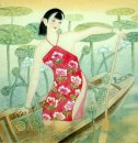 Beautiful lady, Boat - Chinese Painting