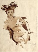 Female Semi-Nude with Hat