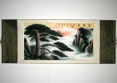 Landscape with cloud - Mounted - Chinese Painting