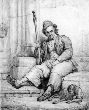 Sitting man with dog