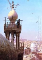 A Muezzin Calling from the Top of a Minaret the Faithful to Pray