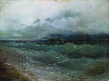 Ships In The Stormy Sea Sunrise 1871