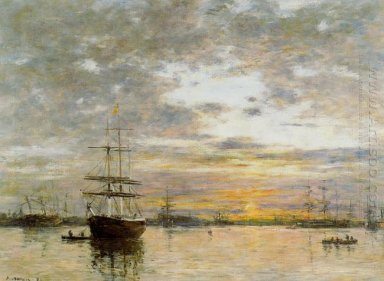 The Port Of Le Havre At Sunset 1882