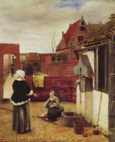 A Woman and a Maid in a Courtyard