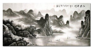 Tree and Moutain - Shenling - Chinese Painting