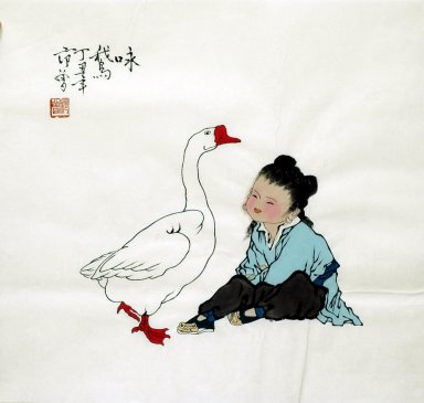 Children, Goose - Chinese Painting