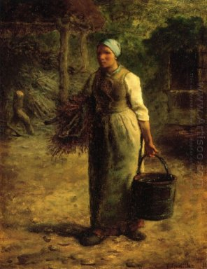 Woman Carrying Firewood And A Pail 1860