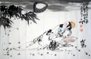 moonlight girl-Yueguang - Chinese Painting