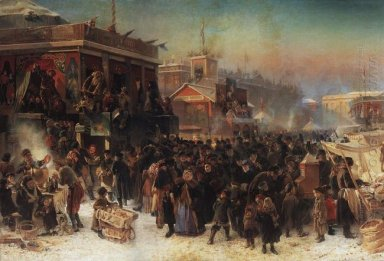 Fair Booths On Admiralty Square St Petersburg 1869