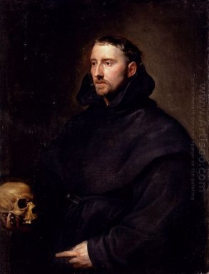 portrait of a monk of the benedictine order holding a skull