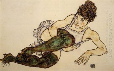reclining woman with green stockings adele harms 1917