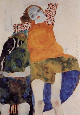two seated girls 1911