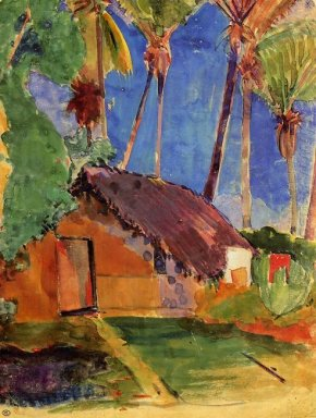 hut under the coconut palms