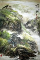 Trees, River, house - Chinese Painting