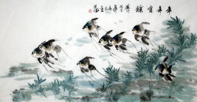Fish-much fish much money - Chinese Painting