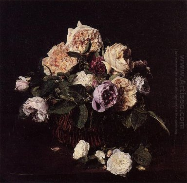 Roses In A Basket On A Table 1876