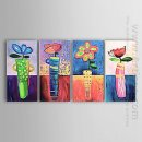 Tangan-Dicat Floral Oil Painting - Set 4