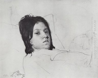 Woman S Head V A Repina Lying In Bed 1872