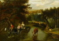 A Wooded Landscape with Peasants in a Horse-Drawn Cart Travellin