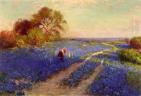 Bluebonnet Scene with a Girl