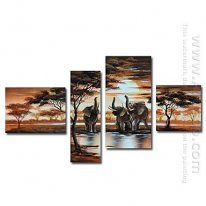 Tangan-Dicat Oil Painting Hewan Oversized Lebar - Set 4