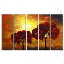 Hand-painted Oil Painting Landscape Oversized Wide - Set of 5