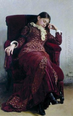 Rest Portrait Of Vera Repina The Artist S Wife 1882