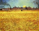 Summer Evening, Wheatfield with Setting sun
