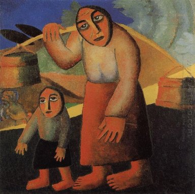 Peasant Woman With Buckets And A Child