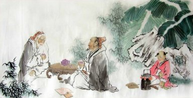 Two Old men and children-Chinese Painting