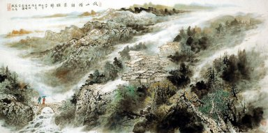 A village in the mountains - Chinese Painting
